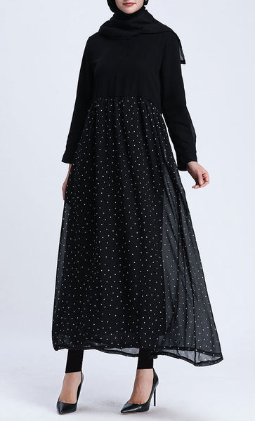 Mini Polka Tunic Dress (Black) - *Size Up* - EastEssence.com