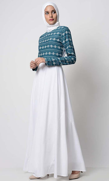 Minimalist Printed Everyday Abaya-White - EastEssence.com