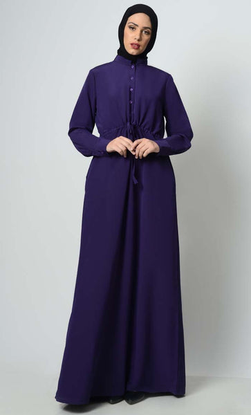Minimalistic And Chic Drawstring Abaya - EastEssence.com