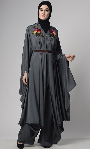 Modern Grey Draped Jumpsuit With Embroiderd Loose Belt - EastEssence.com