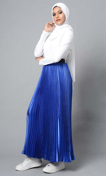 Modest Full Length Crinckled Skirt- Blue - EastEssence.com