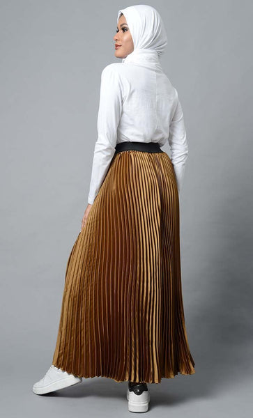 Modest Full Length Crinckled Skirt- Brown - EastEssence.com
