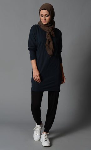 Modest Solid T shirt with Batwing Sleeves - EastEssence.com