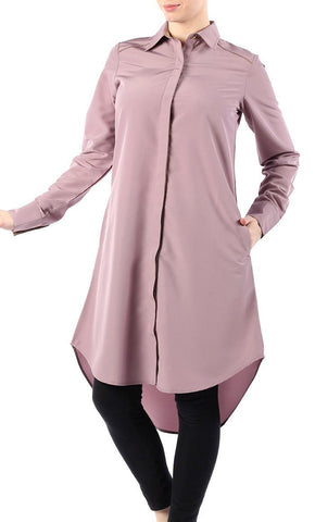 Modest Wear Shirt Style Button Down High Low Tunic - EastEssence.com