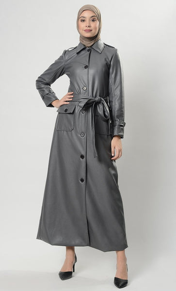 Modish Single Button Full Jacket (Grey)-Final Sale - EastEssence.com