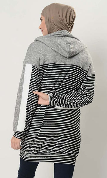Monotone Striped Extra Long Hoodie T Shirt - EastEssence.com