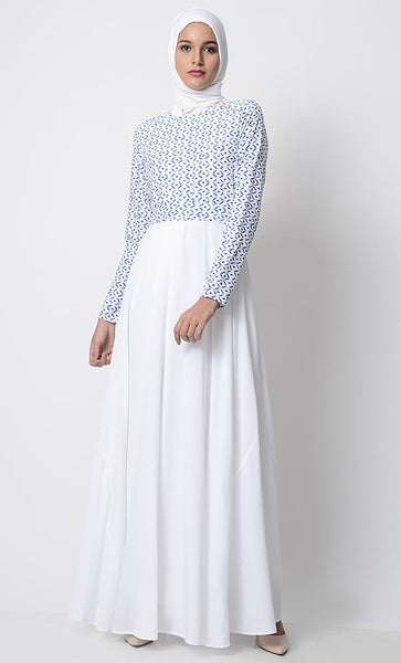Morning Blue Printed Everyday Abaya-White - EastEssence.com