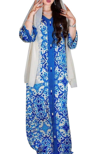 Moroccan Inspired Printed With Lace Loose Abaya Dress- *Size Up* - EastEssence.com