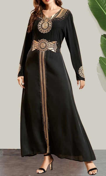 Moroccan Style Embroidred Abaya - EastEssence.com