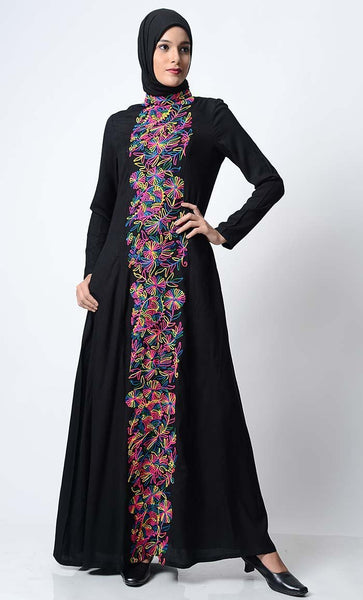 Multi-Color Thread Embroidered Abaya-Black - EastEssence.com