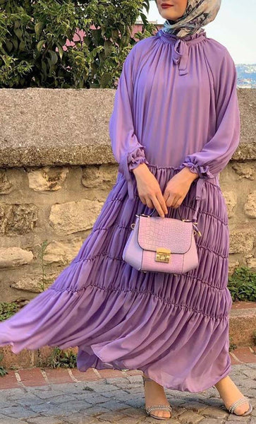 Multi Layer Ruched Abaya Dress-Purple- *Size Up* - EastEssence.com
