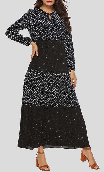 Multi Layer Sparkle Printed Abaya - Black - *Size Up* - EastEssence.com