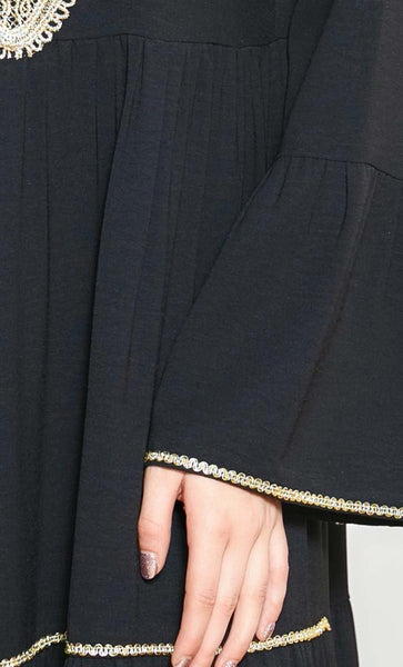 Multi-Tier With Patchwork Abaya-Black - *Size Up* - EastEssence.com
