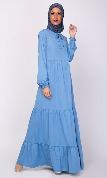 Multi Tiered Flared Abaya Dress - EastEssence.com