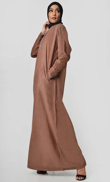Multicolor Button Detail Abaya Dress - Brown - EastEssence.com