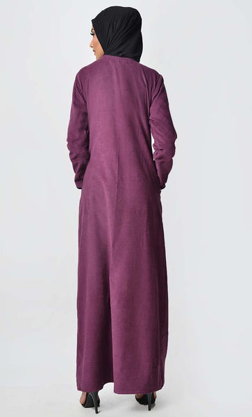 Multicolor Button Detail Abaya Dress - Wine - EastEssence.com