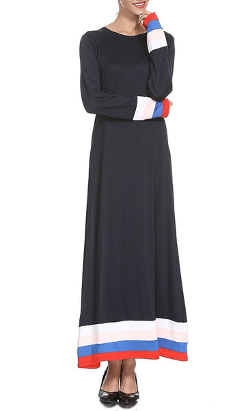 Multicolor Detailed Stripe Abaya- *Size Up* - EastEssence.com