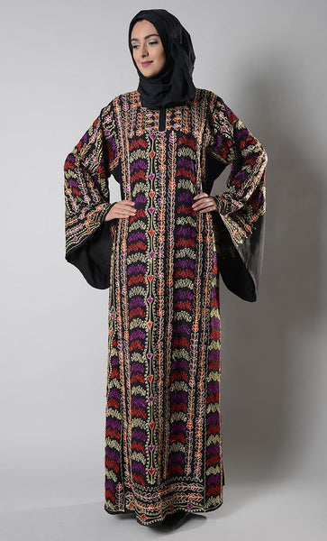 Multicolor Embroidered Palestinian Jordanian Dress and Hijab set - EastEssence.com