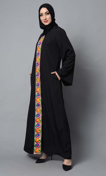Multicolor lace embroidered and bell sleeves muslimah abaya dress - EastEssence.com