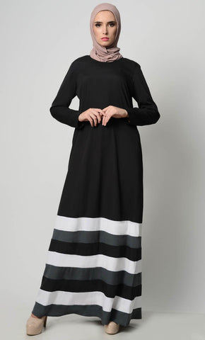 Multicolor Tier Matched Lining Abaya-Black - EastEssence.com