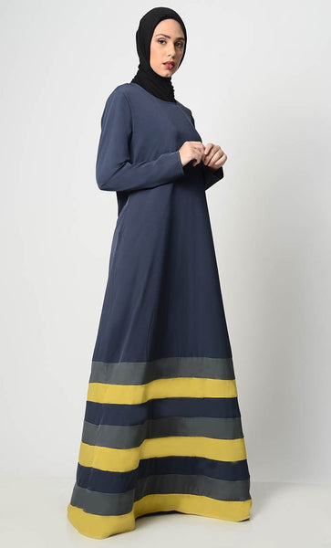Multicolor Tier Matched Lining Abaya-Navy - EastEssence.com