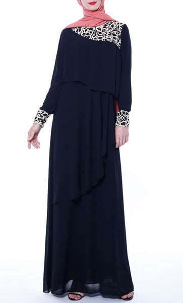 Multilayer With Lace Casual Abaya - Black - *Size Up* - EastEssence.com