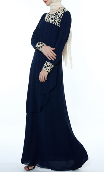 Multilayer With Lace Casual Abaya - Navy - *Size Up* - EastEssence.com