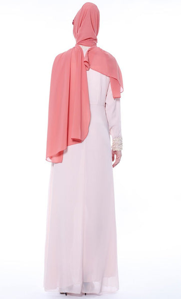 Multilayer With Lace Casual Abaya - Pink - *Size Up* - EastEssence.com