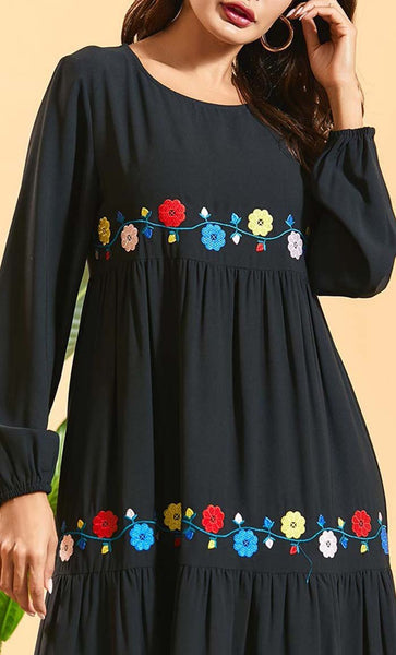 Mutil Tier with Floral Design Abaya - *Size Up* - EastEssence.com