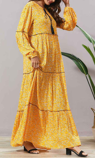 Mutil Tier with Overall Print Abaya - *Size Up* - EastEssence.com