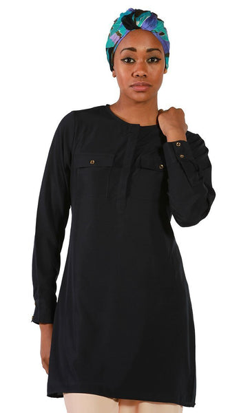 Navy Crepe Tunic - EastEssence.com