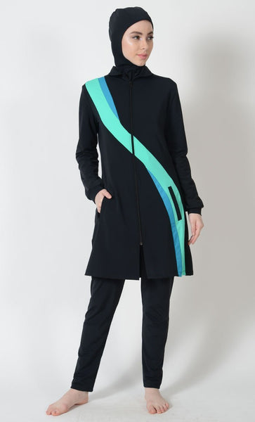 Neon Wavy Panel Detail Swimwear Burkini Three Piece Set - EastEssence.com