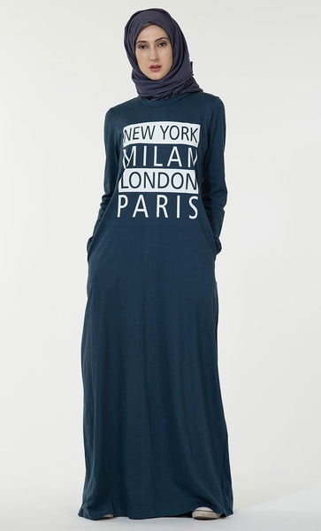New York Milan London Paris text baisc everyday wear Abaya dress - EastEssence.com