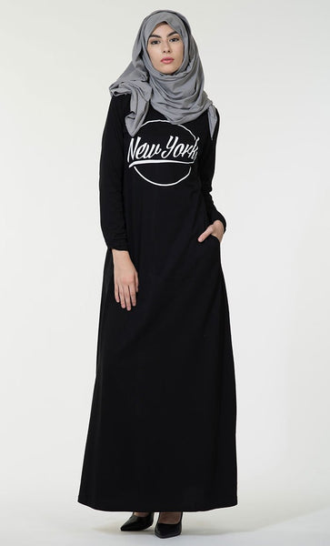New York text baisc everyday wear Abaya dress - EastEssence.com