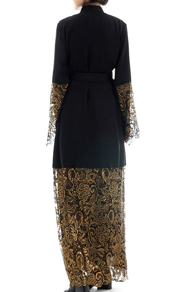 NIDA Fabric Golden lace decorated muslim kimono long Bisht with belt- *Size Up* - EastEssence.com
