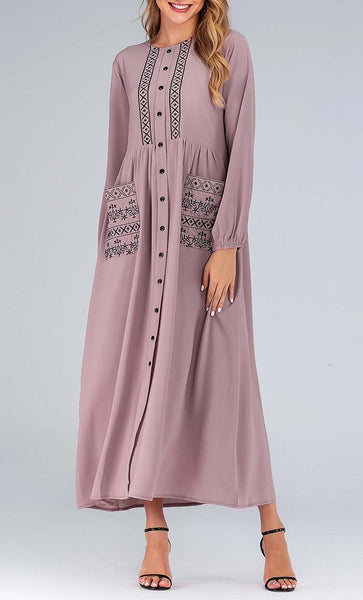 Not So Basic Abaya Dress (Pink) *Size Up* - EastEssence.com