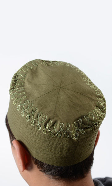 Olive Green Embroidered Cotton Kufi - EastEssence.com