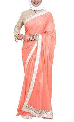Pakeezah Everyday Pink Saree - Final Sale Item - EastEssence.com