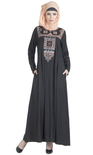 Palestine embroidered flared muslimah abaya dress - EastEssence.com
