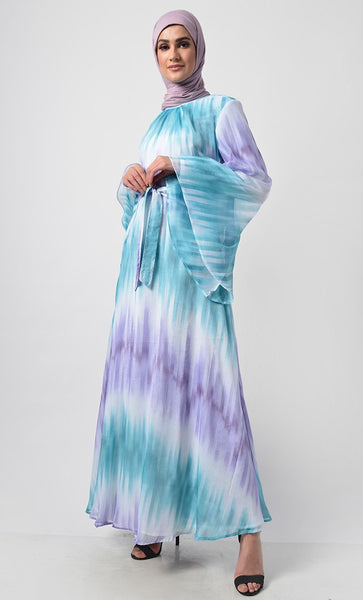 Pastel Double Tone Gradient Printed Everyday Abaya - EastEssence.com