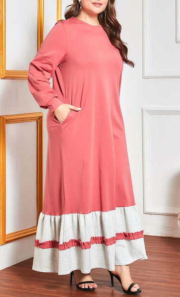 Pastel Fall Everyday Abaya-Pink - EastEssence.com