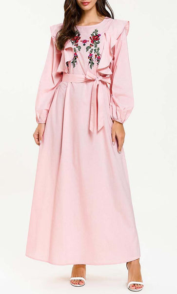 Pastel Garden Embroidered Abaya Dress (Pink) *Size Up* - EastEssence.com
