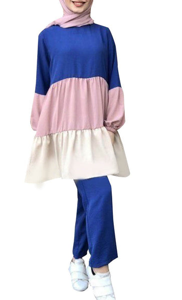 Pastel Hue Color-blocked Casual Set (Blue) - *Size Up* - EastEssence.com