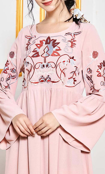Pastel Pink abaya with embroidery - *Size Up* - EastEssence.com