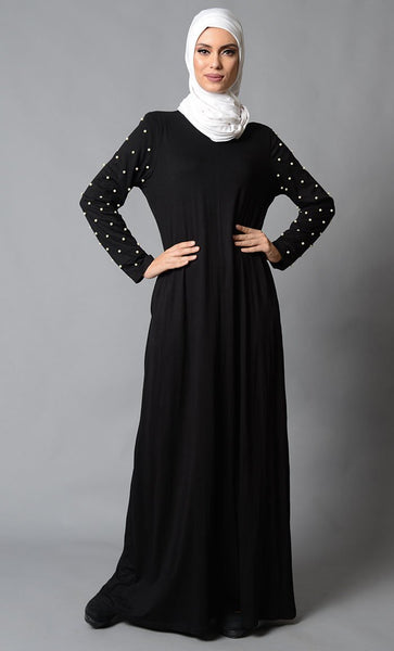 Pearl Embellished Sleeves Casual Abaya Dress - EastEssence.com