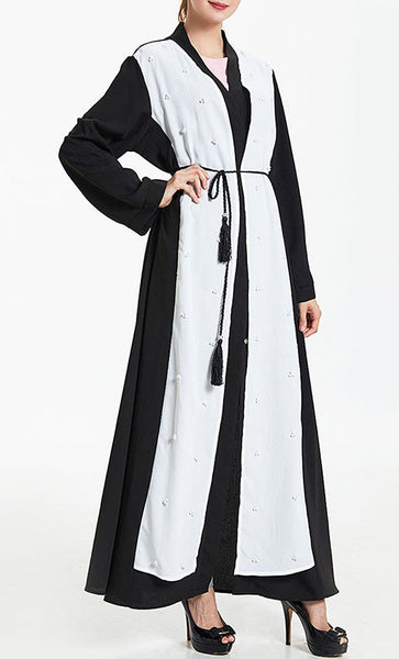Pearl Embroidered Wrap Around Bisht Abaya Dress - EastEssence.com