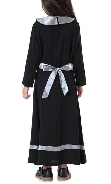 Peter Pan Collar Girls Abaya (Black)-*Size Up* - EastEssence.com