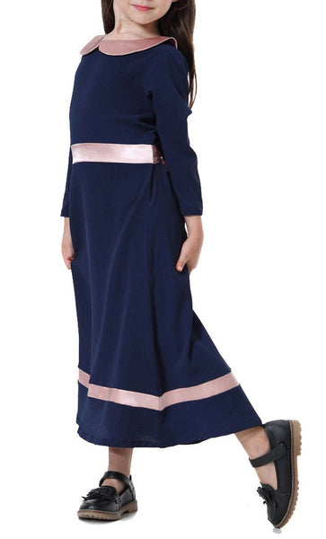 Peter Pan Collar Girls Abaya (Navy Blue)-*Size Up* - EastEssence.com