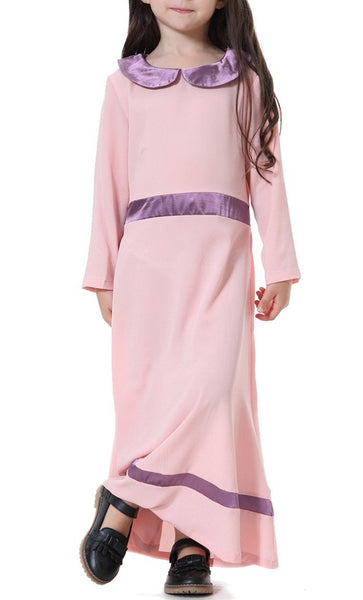 Peter Pan Collar Girls Abaya (Pink)-*Size Up* - EastEssence.com