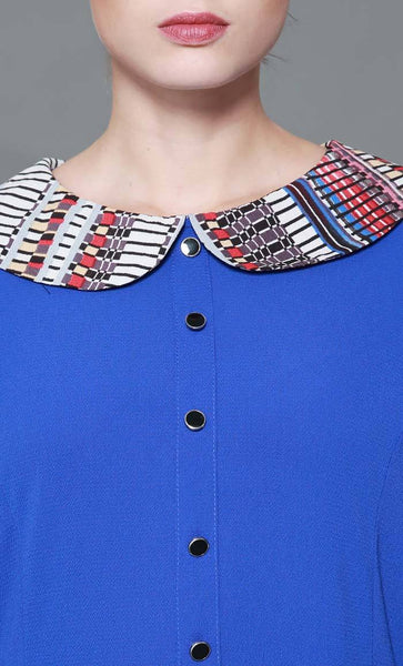 Peterpan Collar Trendy Printed Abaya- *Size Up* - EastEssence.com